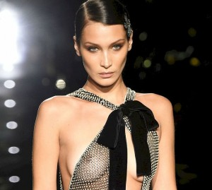 Bella Hadid See Through During Tom Ford AW20 Show