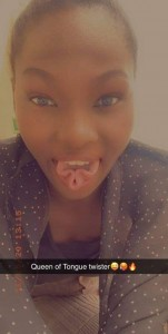 Her Username is Datweird Kia La and she posted this picture as her profile photo, which has got everyone talking on how she managed to get her Tongue to that shape or if it is Natural.  Posted with the caption #AREYOWEIRD?