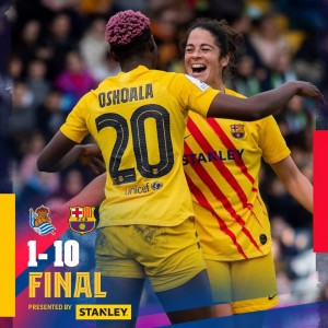 Real Sociedad 1-10 Barça Women: Super Cup Champions!  Barça Women won their second title of the season and the first Super Cup in its history after beating Real Sociedad