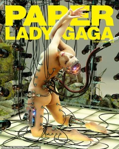 Pop star. Lady Gaga showed off her bare butt as she posed nude for Paper Magazine weeks before she releases her new album Chromatica on April 10th.    In the first cover photo for Paper magazine, Lady Gaga poses nude with her backside facing the cameras with a robotic calf and pieces digitally attached to her body. In the second cover photo, Gaga sits on a horse with animated features while wearing a pleated green dress, with another horse in front.
